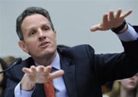 AP - FILE - In this Sept. 23, 2009, file photo, Treasury Secretary Timothy Geithner testifies on Capitol Hill in ...