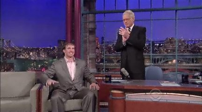 Drew Brees chats it up with David Letterman