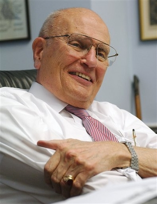 Rep. John Dingell, D-Mich., smiles in his office on Capitol Hill in Washington in this Dec. 13, 2005 file photo.  (AP Photo/Dennis Cook, File)