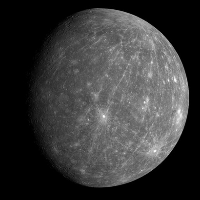 This image provided by NASA Tuesday Oct. 7, 2008 shows the planet Mercury, taken on Oct. 6, 2008, at roughly 4:40 a.m. ET, when MESSENGER flew by Merc
