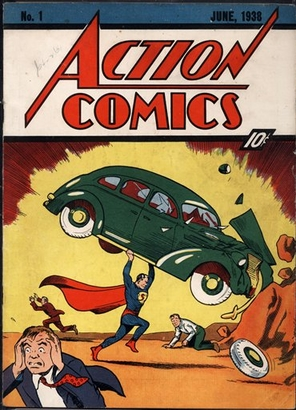 In this comic book cover photo released by ComicConnect/Metropolis Comics, a copy of the 1938 edition of Action Comics No. 1, featuring Superman's deb