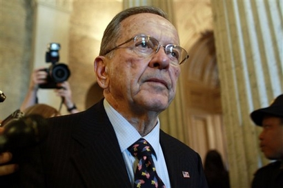 Sen. Ted Stevens, R-Alaska, leaves the Senate chamber after making his last formal speech on the Senate floor and listening to tributes from his colle