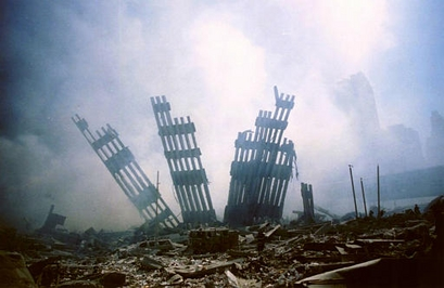 The remains of the World Trade Center stands ...