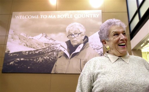 Columbia Sportswear owner Gert Boyle stands in the company lobby...