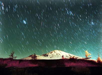 Leonid meteors are seen streaking across the ...