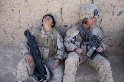 Lance Corporal Luz Lopez (L) and Riane Donoho, ...