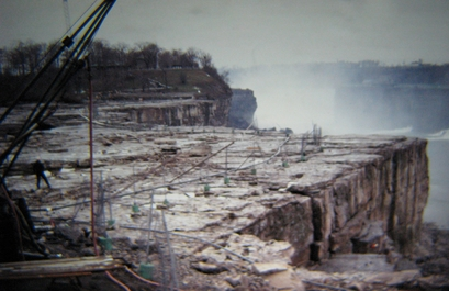 A view from the top of the de-watered Niagara ...