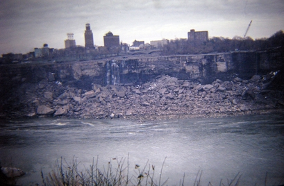 Distant view of a dry Niagara Falls showing the ...