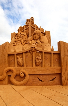 A sand sculpture entitled