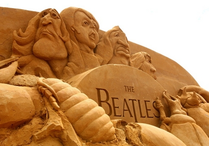 "A sand sculpture entitled ""Beetlemania"" carved ..."
