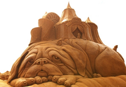 "A sand sculpture entitled ""Flea Circus"" carved ..."