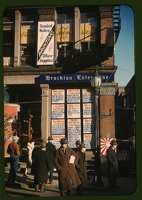 1940: Headlines posted in street-corner window ...