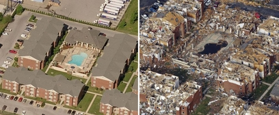 This whole apartment complex was destroyed by ...
