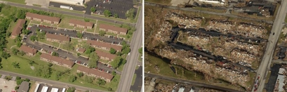 Entire residential blocks were flattened by the ...