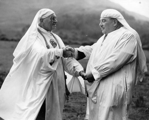 Two Druids meet on the Isle of Mull in Scotland, September, 1954,...