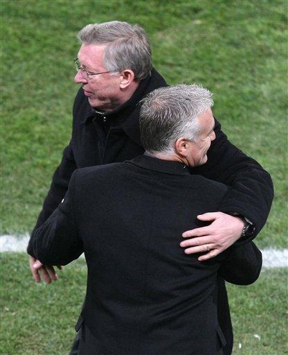 Manchester United''s Coach Alex Ferguson Of Scotland, Left, And             Marseille''s Coach Didier Deschamps Of France Are Seen