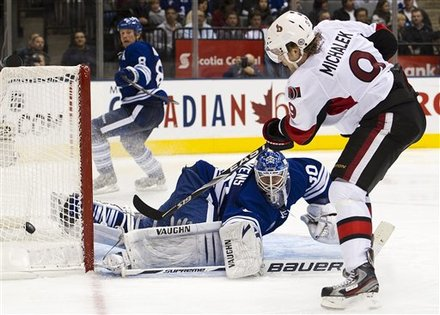Michalek tries to score in the 5-2 victory over the leafs on Nov 12, 2011 (Photo Credit: AP)