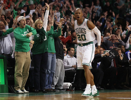   Ray Allen #20 Of The Boston Celtics Celebrates