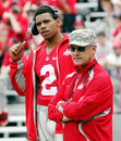 Ohio State head coach Jim Tressel, right, watches his team from the sideline as quarterback Terrelle Pryor (2) looks on during an NCAA college football Spring Game, Saturday, April 23, 2011, in Columbus, Ohio.
