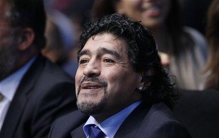 Argentine Soccer Legend Diego Maradona Watches The Match Between Serbia's Novak Djokovic And Czech Republic's Tomas