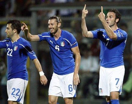 Italy Forward Giampaolo Pazzini, Right, Celebrates