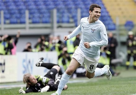 Lazio Midfielder Hernanes, Of Brazil, Celebrates