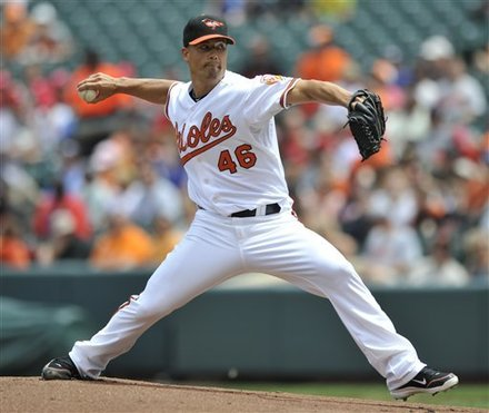 Baltimore Orioles Pitcher Jeremy Guthrie Delivers