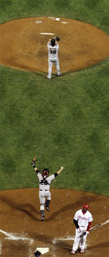 San Francisco Giants Catcher Buster Posey And Relief Pitcher Brian Wilson Celebrate