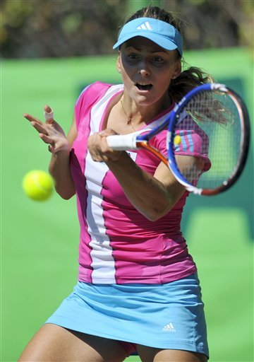 Ksenia Pervak Of Russia Returns A Ball To Eva Birnerova Of The Czech Republic In Tashkent, Uzbekistan, On Friday, Sept.