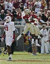 Florida State cornerback Xavier Rhodes (27) and safety Lamarcus Joyner (20) celebrate as North Carolina State tight end Mario Carter (87) walks away in the second quarter of an NCAA college football game at Doak Campbell Stadium in Tallahassee, Fla., Saturday, Oct. 29, 2011.
