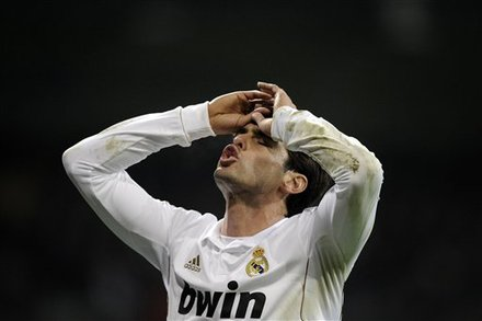 Real Madrid's Kaka From Brazil Reacts