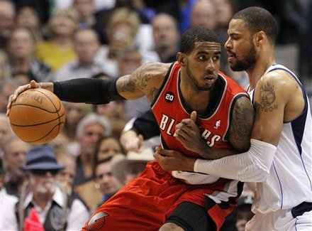 Portland Trail Blazers  Forward LaMarcus Aldridge, Left, Drives