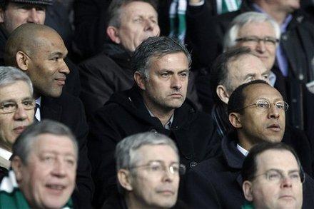 Real Madrid's Coach Jose Mourinho, Center, Attends