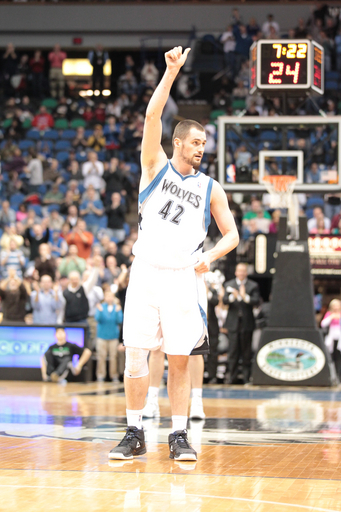 Kevin Love #42 Of The Minnesota Timberwolves Greets