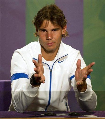 Spain's Rafael Nadal Gestures
