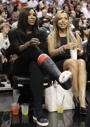 Tennis Player Serena Williams, Left, Watches