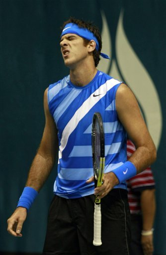 Juan Martin Del Potro Of Argentina Reacts