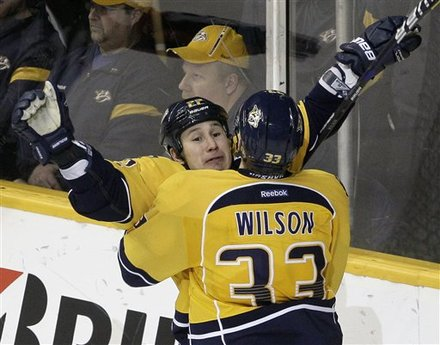 Nashville Predators Right Wing Jordin Tootoo, Rear, Celebrates
