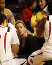 Rutgers associate head coach Carlene Mitchell fills in for coach C. Vivian Stringer, who was suspended for one game for violating an NCAA policy, during the first half of an NCAA college basketball game against Seton Hall in Piscataway, N.J. on Wednesday, Feb. 10, 2010.