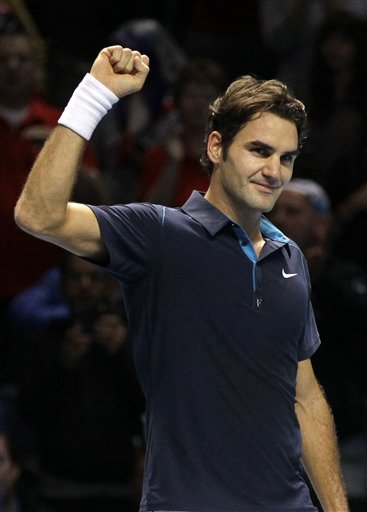 Switzerland's Roger Federer Reacts