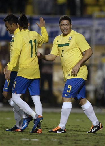 Brazil''s Retired Striker Ronaldo, Right, Is