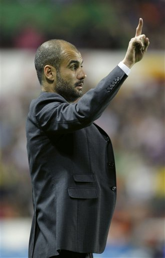 Barcelona Coach Pep Guardiola Reacts