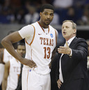 Texas head coach Rick Barnes talks with Tristan Thompson during a break against Oakland , Mich. in the second half of a West Regional NCAA tournament second round college basketball game, Friday, March 18, 2011 in Tulsa, Okla. Texas won 85-81.
