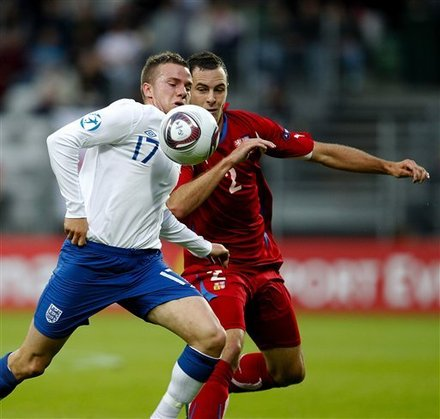 England's Thomas Cleverly And Czechs Jan Lecjks, When England Met Czech Republic