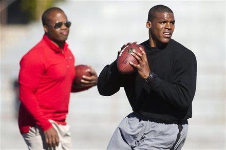 NFL Draft Prospect Cam Newton, Right, Looks