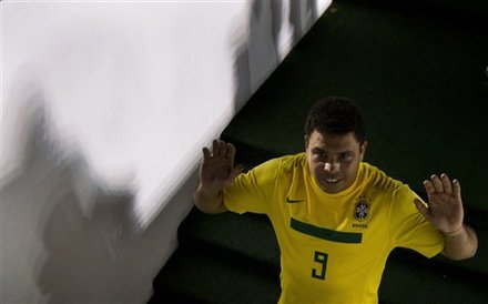 Brazil''s Retired Striker Ronaldo Waves