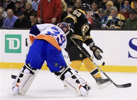 Boston Bruins Center Brad Marchand (63) Pushes The Puck Past New York Islanders Goalie Rick DiPietro On His Way To