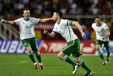 Republic Of Ireland's Robbie Keane Celebrates