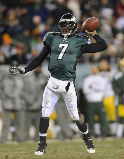 Philadelphia Eagles quarterback Michael Vick (7) throws the ball during the second half of an NFL wild card playoff football game against the Green Bay Packers in Philadelphia, Sunday, Jan. 9, 2011.