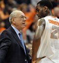 Syracuse head coach Jim Boeheim, left, talks with Rakeem Christmas during the first half of an NCAA college basketball game against Eastern Michigan in Syracuse, N.Y., Tuesday, Nov. 29, 2011. Syracuse won 84-48.